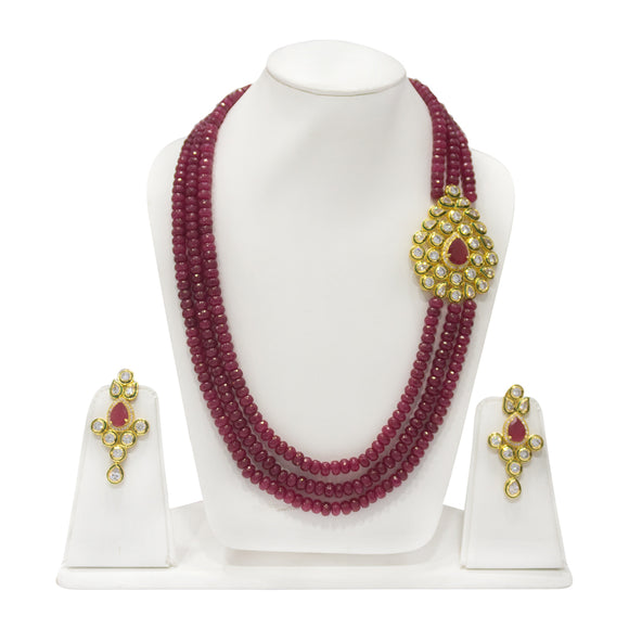 Traditional Kundan Studded Pendant With Multistring Beaded Necklace - The Pink Lane