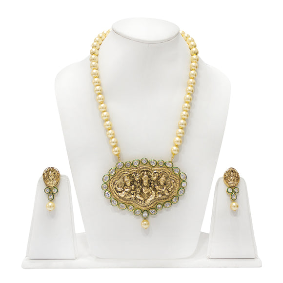 Gold Plated Kundan Studded Ganesha Pendant Set with Pearl Necklace - The Pink Lane