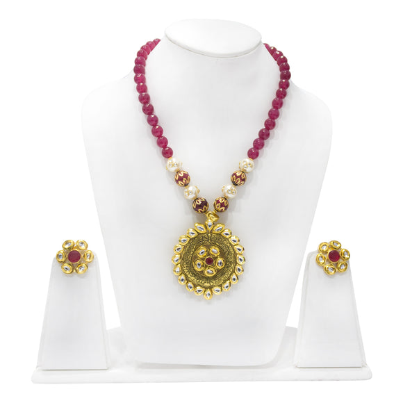 Gold Plated Kundan Studded Pendant with Beaded Necklace - The Pink Lane