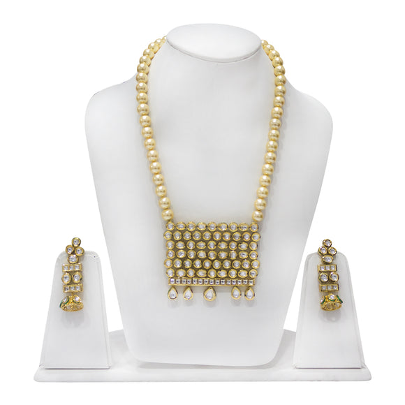 Sparkling Polki Long Necklace Set With Pearl Necklace - The Pink Lane