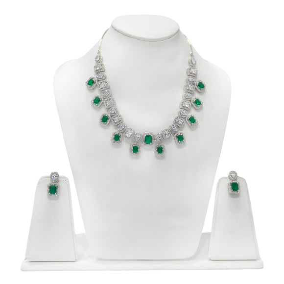 Elegant Diamond look Necklace Set with Green Stones - The Pink Lane