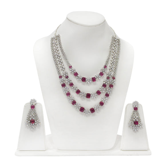 Stunning Multistring Diamond Look Necklace Set with Red stones - The Pink Lane
