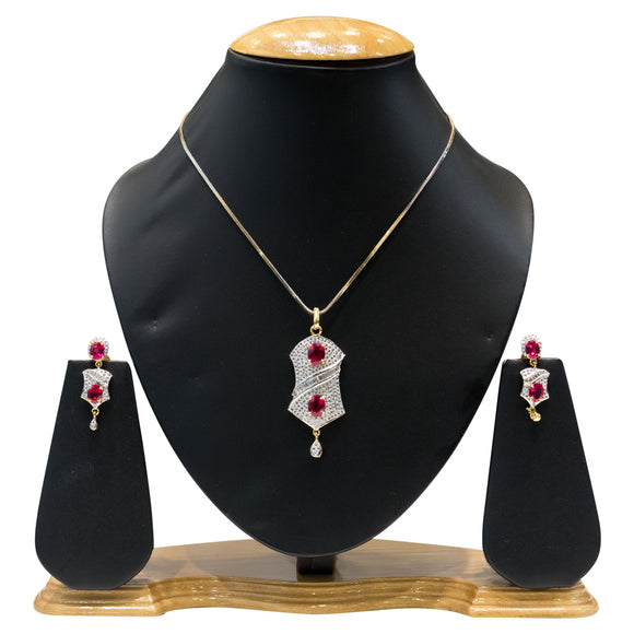 Designer American Diamond Pendent Set for Women with Red Stones