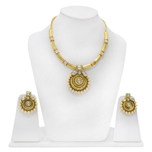 Traditional one of a kind Gold Plated Polki Set with Meenakari work - The Pink Lane