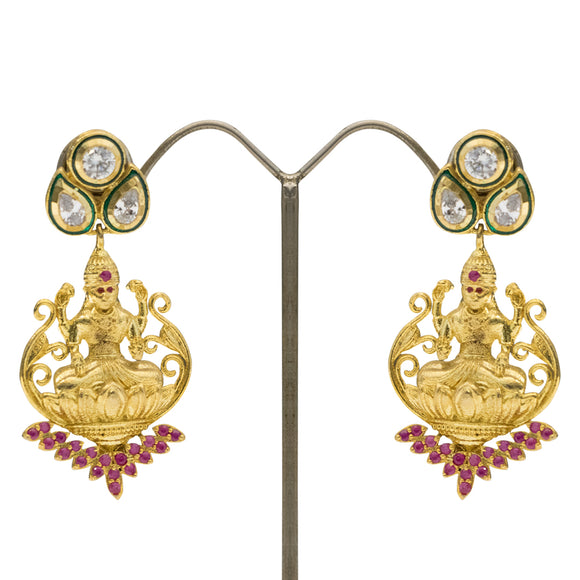 Ethnic Gold Plated Goddess Jhumki with Kundan Work and Ruby