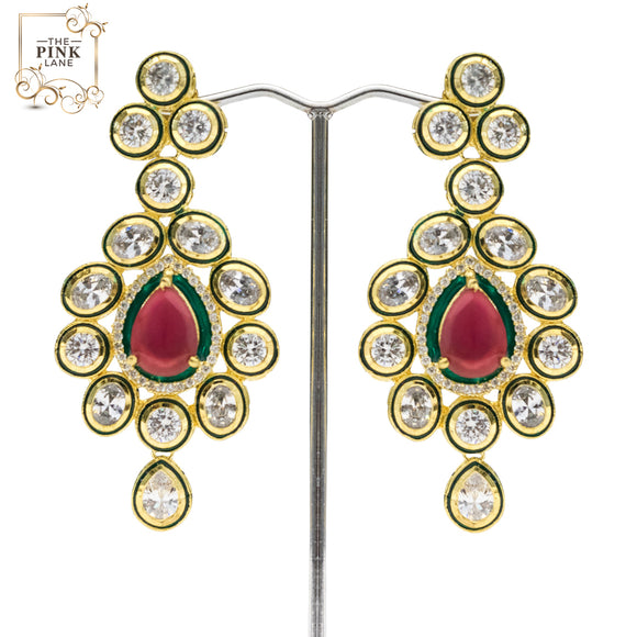 Traditional Red and Green Kundan Earrings for Women