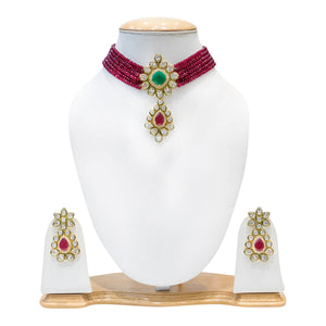 Traditional Multicolored Kundan Necklace Set for Women