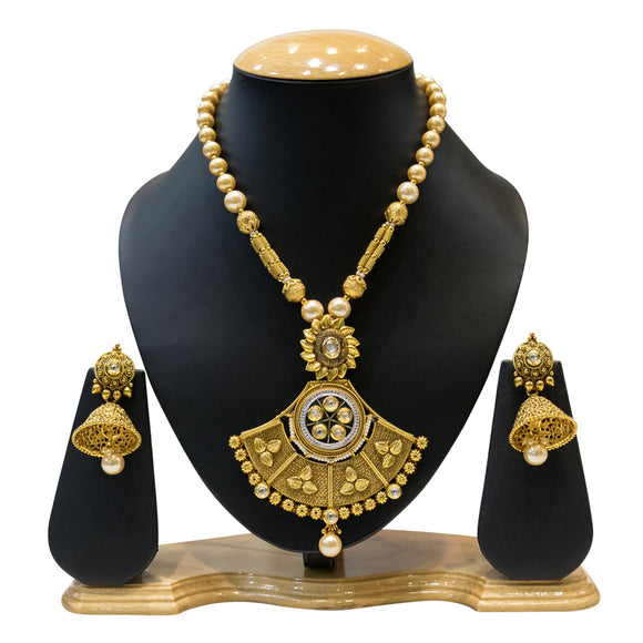 Ethnic Gold Plated Necklace Set with Kundan and Pearls - The Pink Lane