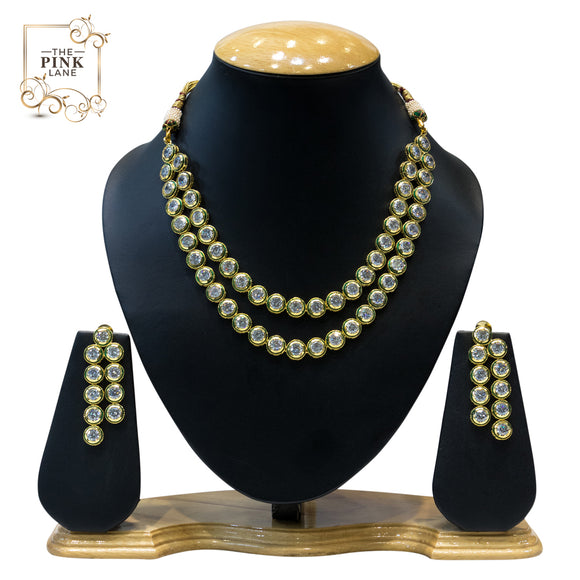 Multistring Gold Plated Kundan Necklace Set - The Pink Lane