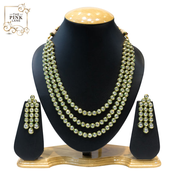 Charming 3 String Gold Plated Kundan Necklace Set - The Pink Lane