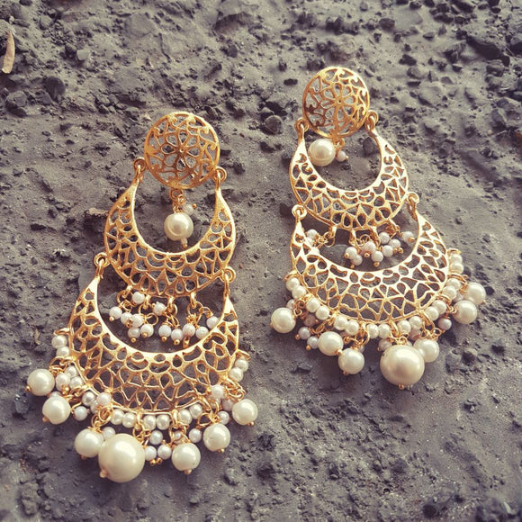 Gold Plated Earrings with Pearls - The Pink Lane