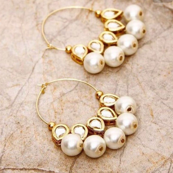 Kundan And Pearl Jhumkis for Women - The Pink Lane