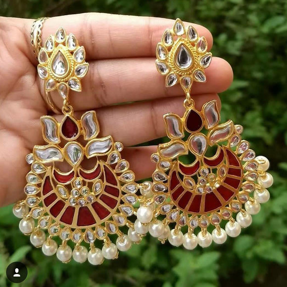 Red And Gold Danglers with Pearls - The Pink Lane
