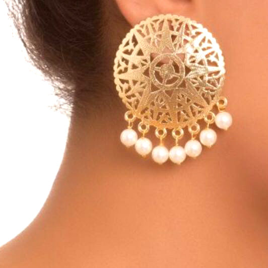 Elegant Gold Plated Earrings with Pearls - The Pink Lane