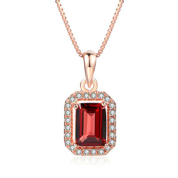 Classic Square Natural Gemstone Garnet Necklace & Pendant | 925 Sterling Silver Rose Gold Wedding Party Fine Jewellery