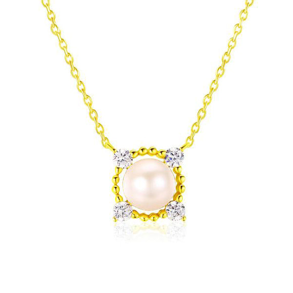 Freshwater Pearl Necklace & Pendant | 925 Sterling Silver 14K Yellow Gold Plated Fine Jewellery
