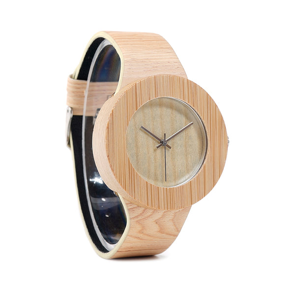 Bamboo Wooden Watches for Women - Wood Dial Quartz Watch Leather Grain Band