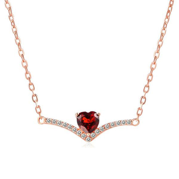 Gemstone Romantic Red Heart Garnet Necklace & Pendant | 925 Sterling Silver Rose Gold Party Fine Jewellery