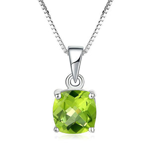 Square Cut Natural Gemstone Peridot Lattice Necklace & Pendants | 925 Sterling Silver - White Gold Plated