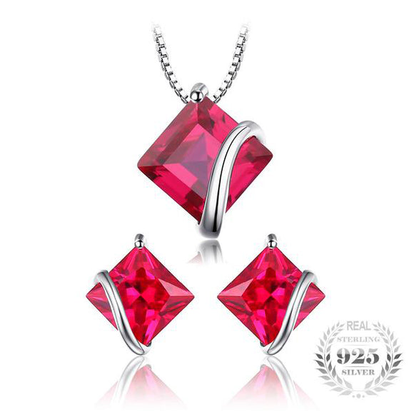 Classic Square 6.1ct Ruby Stud Earrings & Pendant Necklace | 925 Sterling Silver Jewellery