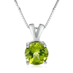 Natural Gemstone Peridot OL Style Necklace & Pendant | 925 Sterling Silver White Gold Plated Fine Jewellery