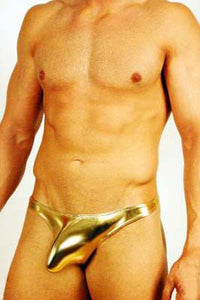 Metallic Fabric Pouched Thong