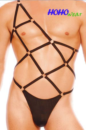 Unbalanced Spider Web Thong Bodysuit