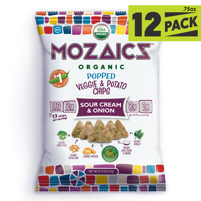 Mozaics Organic Popped Veggie & Potato Chips: Sour Cream & Onion