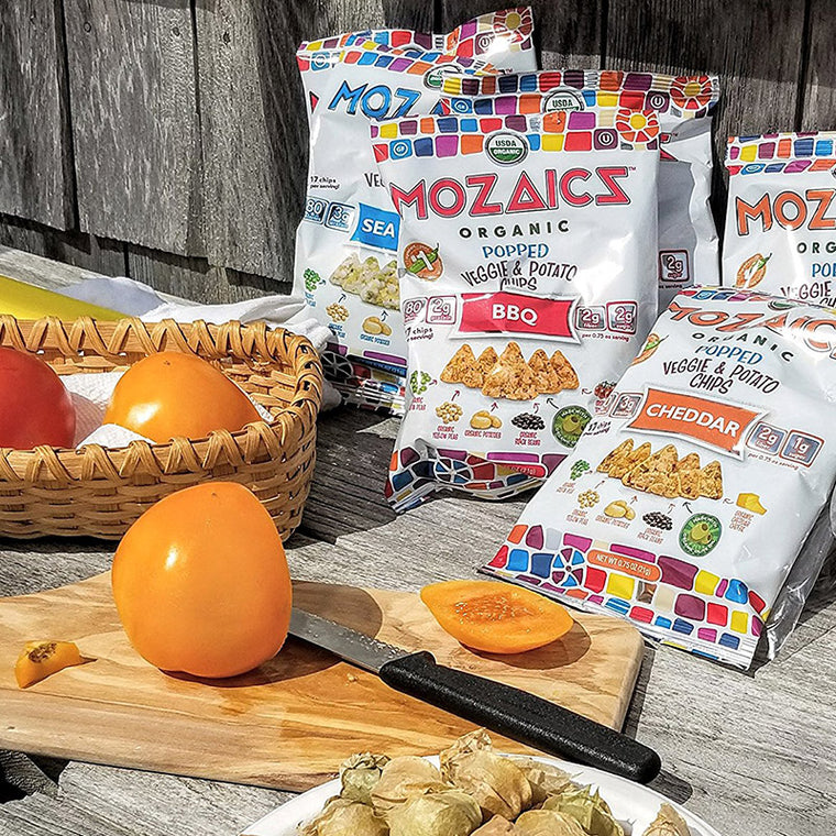 Mozaics Organic Popped Veggie & Potato Chips: Variety Pack (3.5oz – 8 bags)