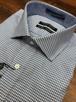 Forsyth of Canada Exploded Blue Houndstooth Dress Shirt