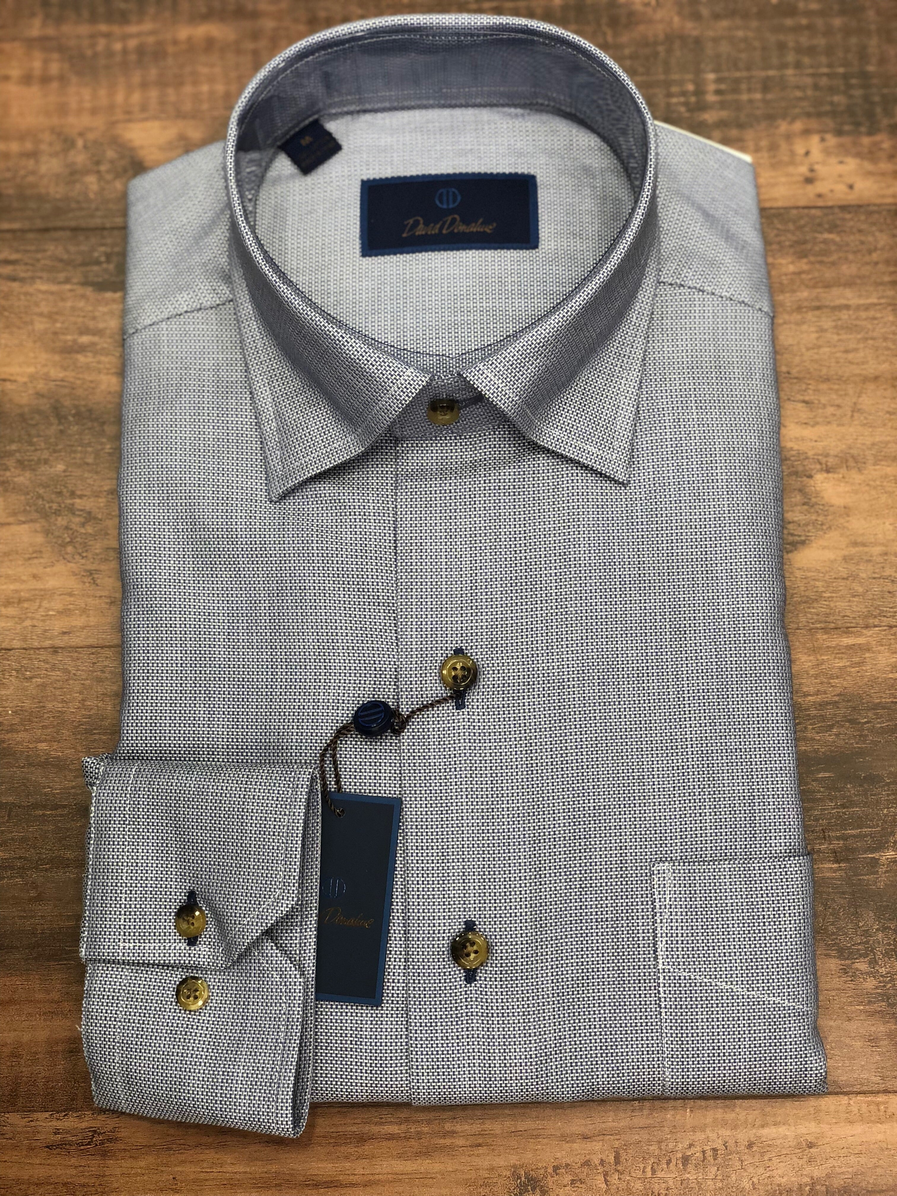 David Donahue Solid Tick Weave Sport Shirt