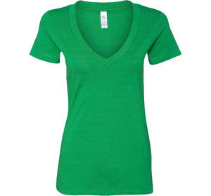 LADIES DEEP V-NECK BACK LOGO