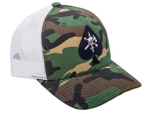 BRCC Trucker Hat - CAF Spade with White Mesh - Black Rifle Coffee Company - 1
