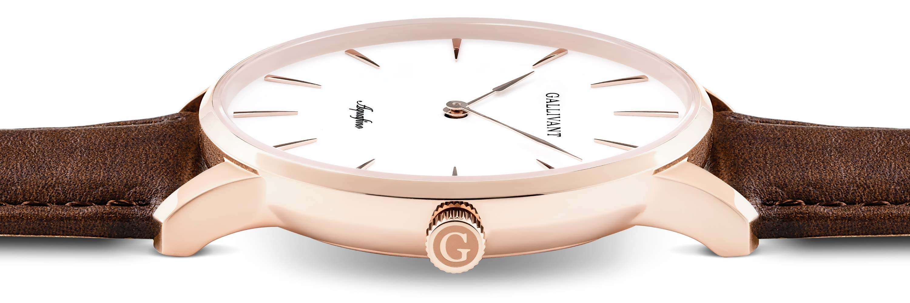 Side of the Gallivant Aquafino with rose gold case and chestnut strap