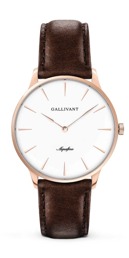 Gallivant Aquafino with rose gold case and chestnut strap