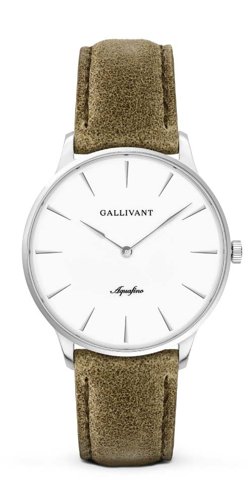 Gallivant men's Aquafino with silver case and olive green strap