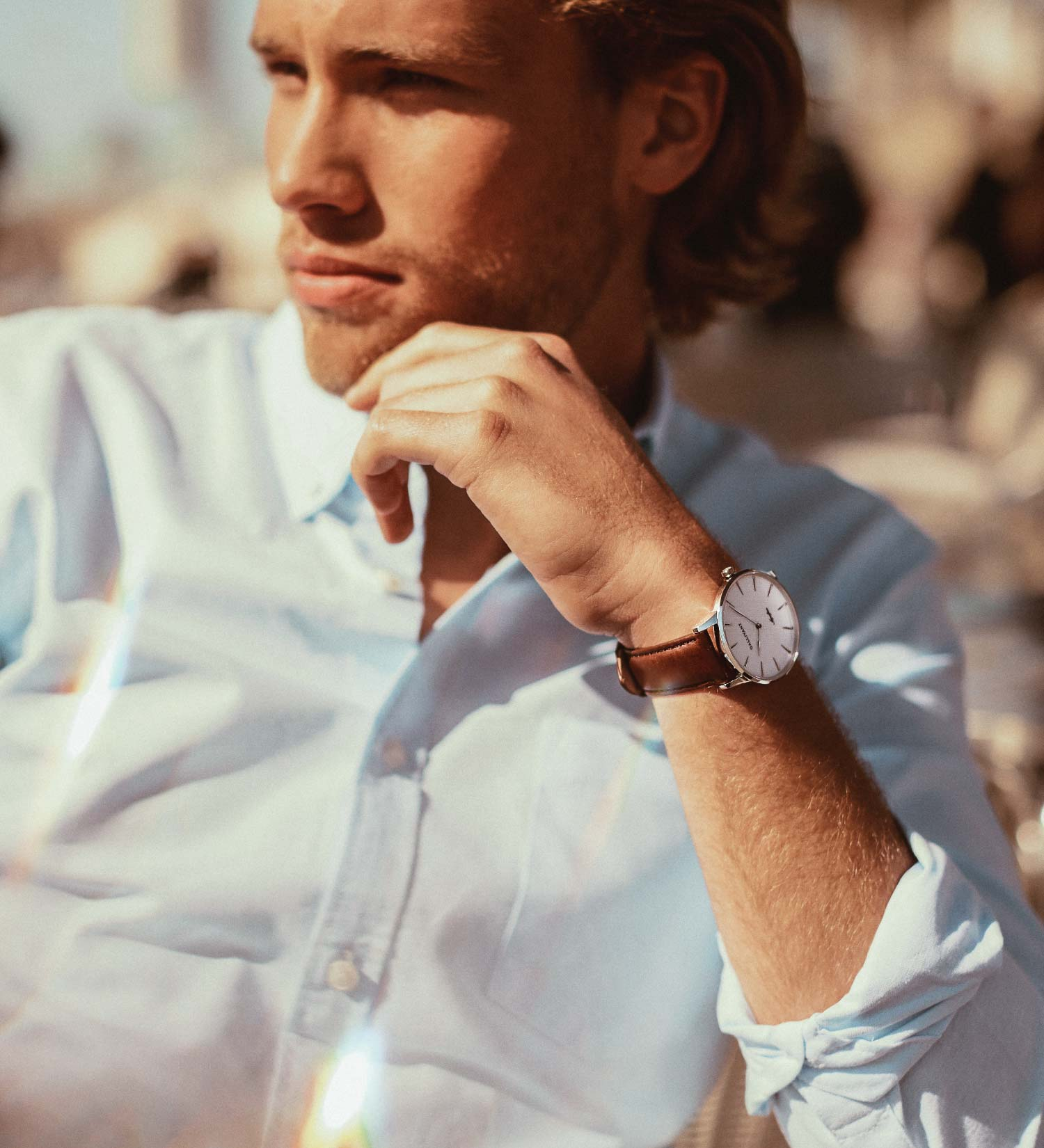 Classic looking guy wearing Gallivant's Aquafino watch