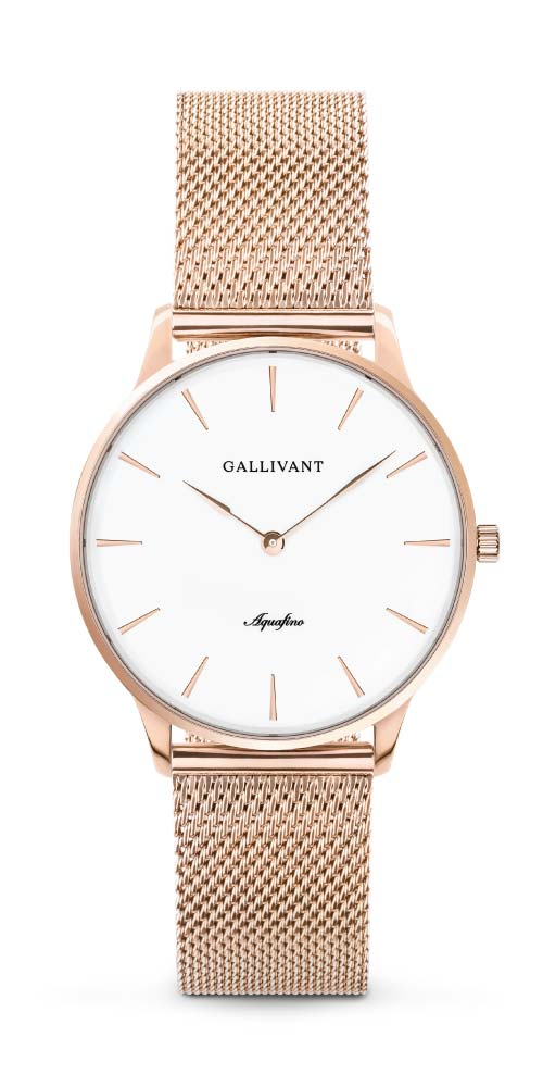 Gallivant women's Aquafino with rose gold case and rose gold mesh strap