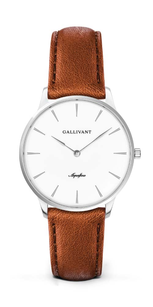 Gallivant women's Aquafino with silver case and tan strap
