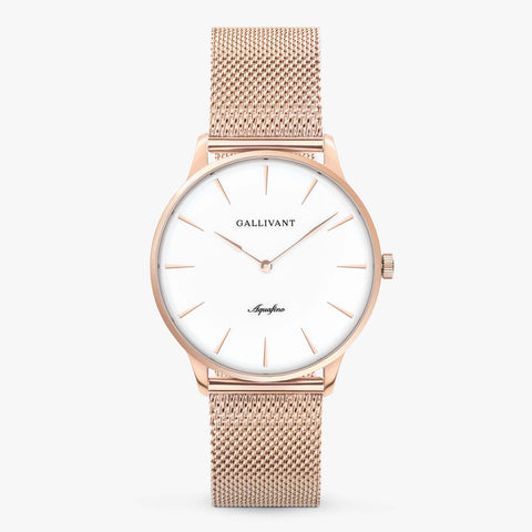 Gallivant Men's Aquafino watch with stainless steel rose gold mesh strap, rose gold case and white dial.