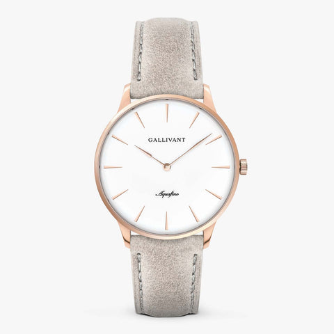 Gallivant Men's Aquafino watch with light grey suede strap, rose gold case and white dial.