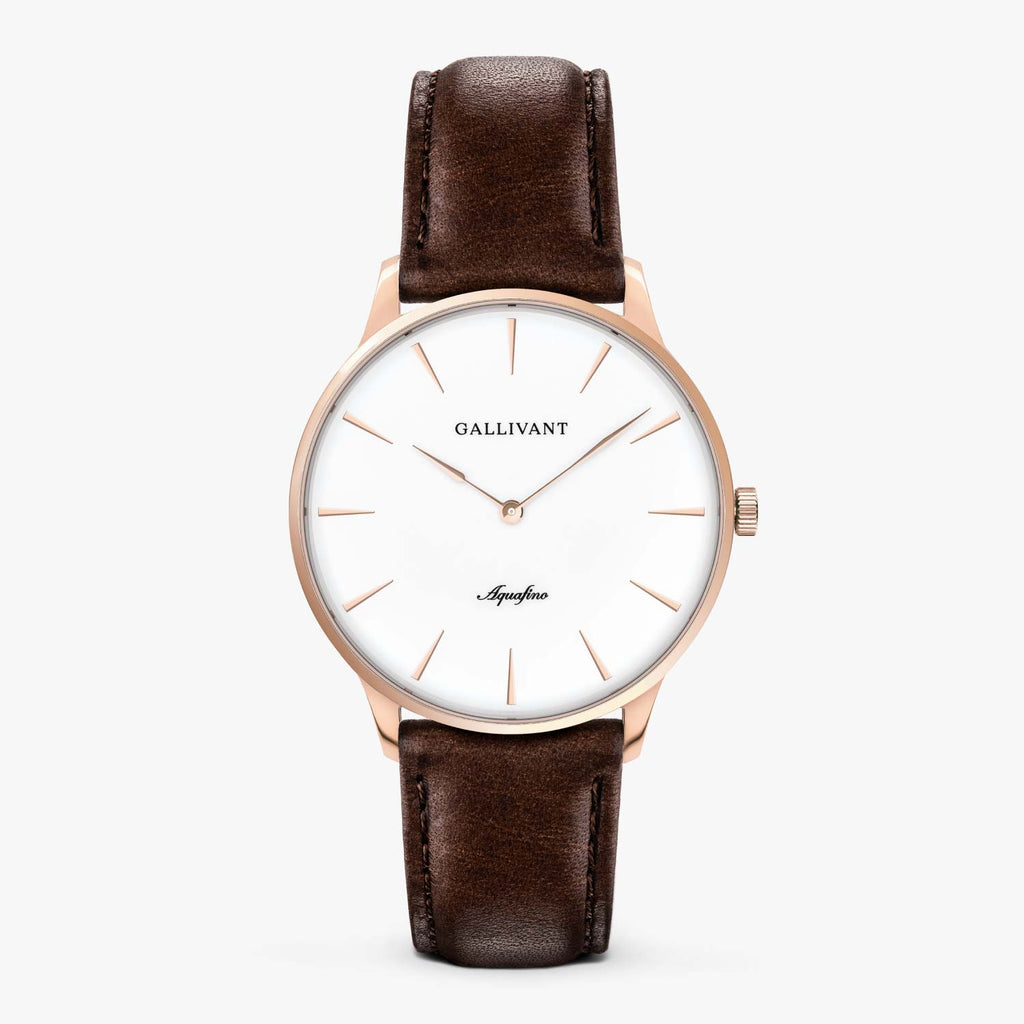 Gallivant Men's Aquafino watch with chestnut brown leather strap, rose gold case and white dial.