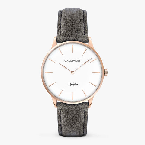 Gallivant Men's Aquafino watch with charcoal grey suede strap, rose gold case and white dial.