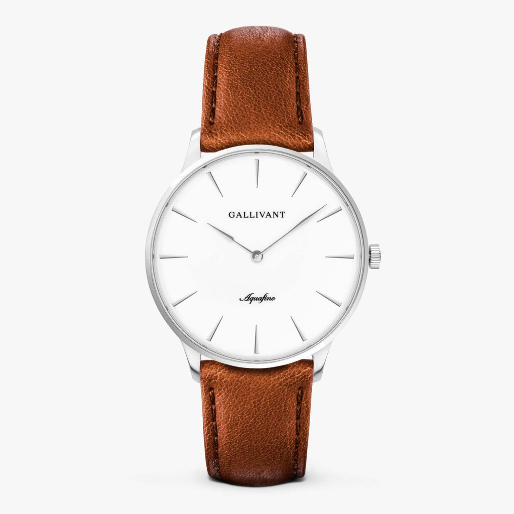 Gallivant Men's Aquafino watch with tan leather strap, silver case and white dial.