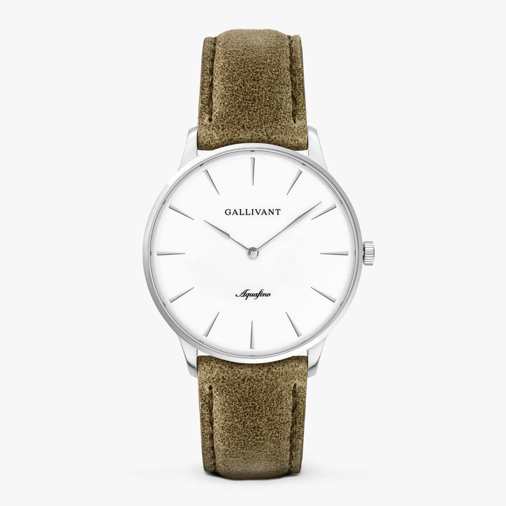 Gallivant Men's Aquafino watch with olive green suede strap, silver case and white dial.