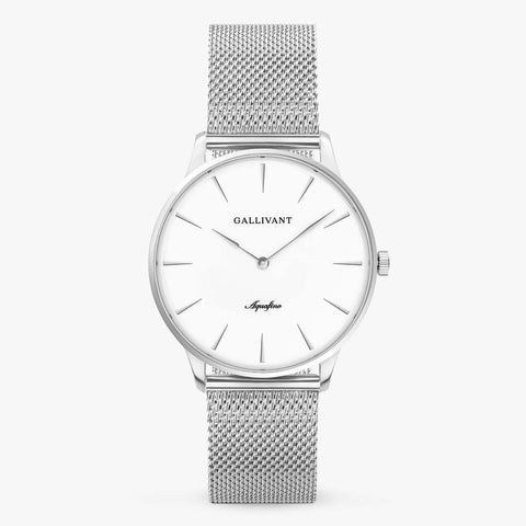 Gallivant Men's Aquafino watch with stainless steel silver mesh strap, silver case and white dial.