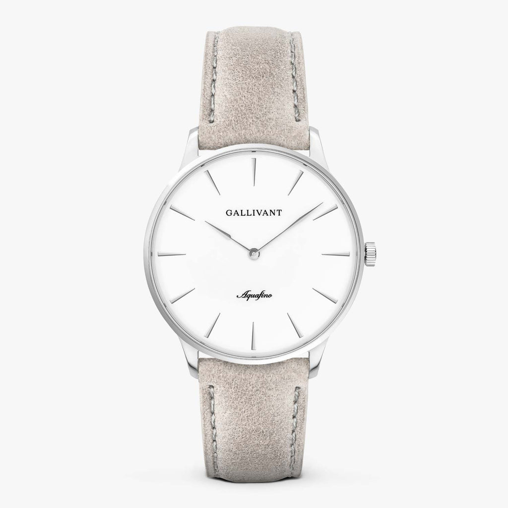 Gallivant Men's Aquafino watch with light grey suede strap, silver case and white dial.