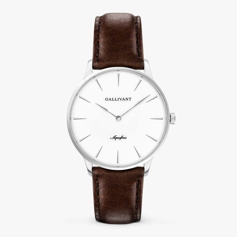Gallivant Men's Aquafino watch with chestnut brown leather strap, silver case and white dial.