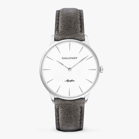 Gallivant Men's Aquafino watch with charcoal grey suede strap, silver case and white dial.