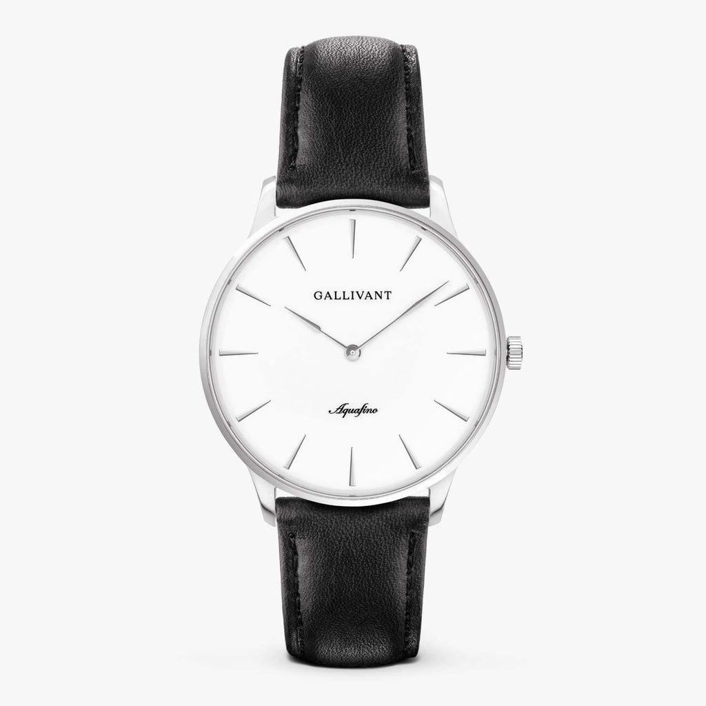 Gallivant Men's Aquafino watch with black leather strap, silver case and white dial.